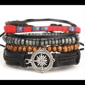 4Pcs Adjustable Tie Leather & Beads Punk Bracelet